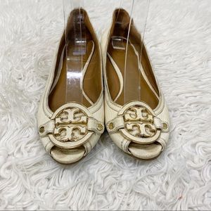Tory Burch Off White Miller Leather Wedge Heel